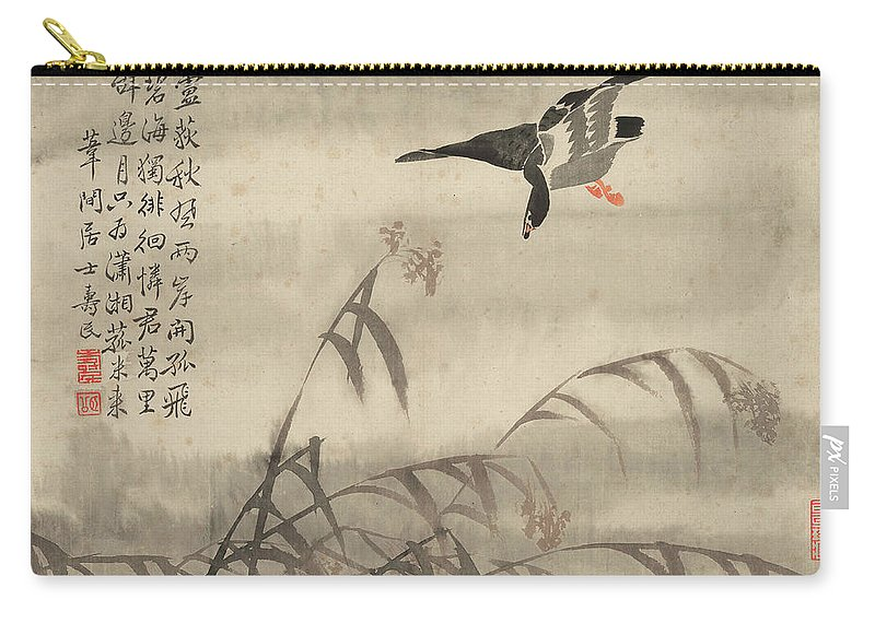 Carry-all Pouch featuring the painting The Goose That Takes Off by Bian Shoumin