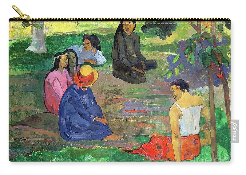 Hat; Post-impressionist; Tropical; Tahitian; Women; Sitting; Talking; Les Potins Carry-all Pouch featuring the painting The Gossipers by Paul Gauguin