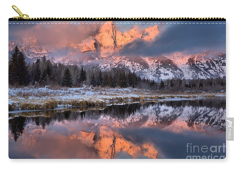 Teton Sunrise Carry-all Pouch featuring the photograph The Grand Teton by Adam Jewell