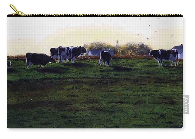 Cows Carry-all Pouch featuring the painting The Grass Is Greener by Denny Bond