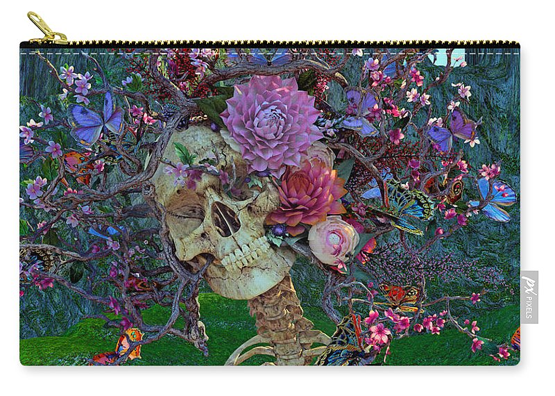 Skull Carry-all Pouch featuring the digital art Fugitive From Society by Betsy Knapp