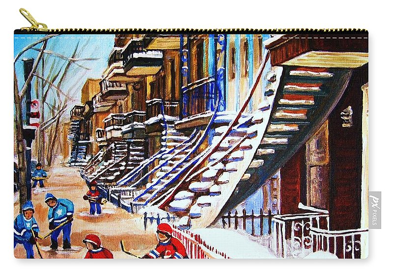 Hockey Carry-all Pouch featuring the painting The Gray Staircase by Carole Spandau