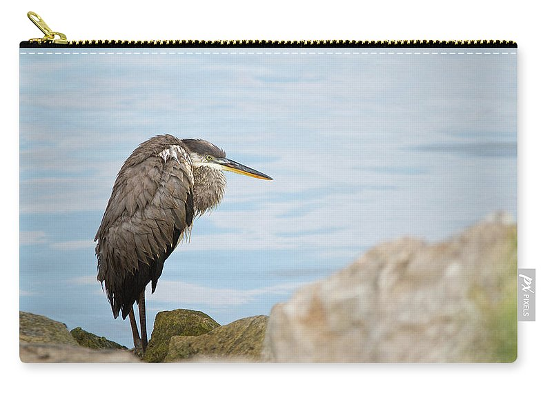 Bird Carry-all Pouch featuring the photograph The Great Old Heron by MotionOne Studios