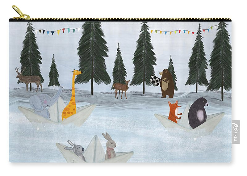 Woodland Carry-all Pouch featuring the painting The Great Paper Boat Race by Bri Buckley