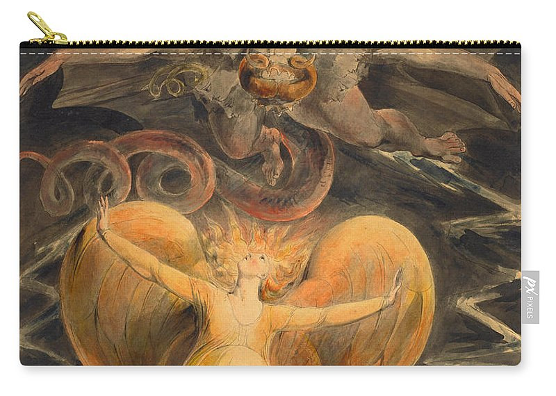 William Blake Carry-all Pouch featuring the drawing The Great Red Dragon And The Woman Clothed With The Sun by William Blake