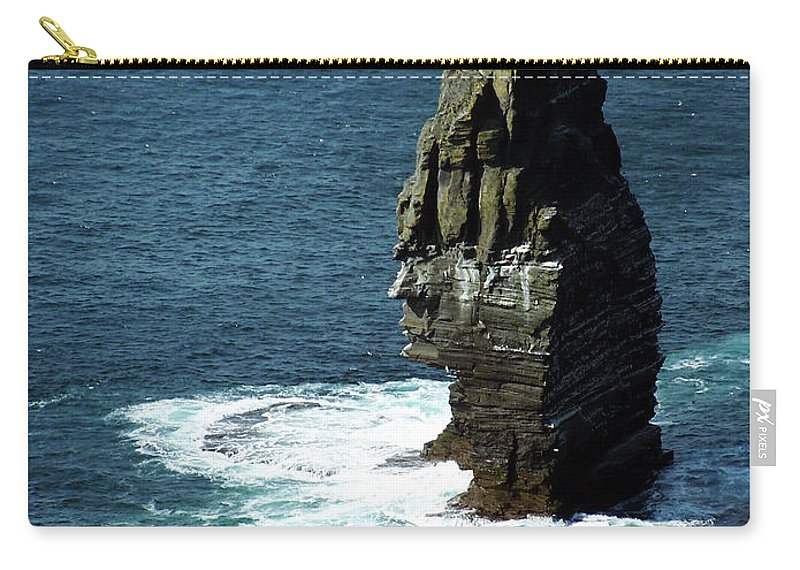 Irish Carry-all Pouch featuring the photograph The Great Sea Stack Brananmore Cliffs Of Moher Ireland by Teresa Mucha