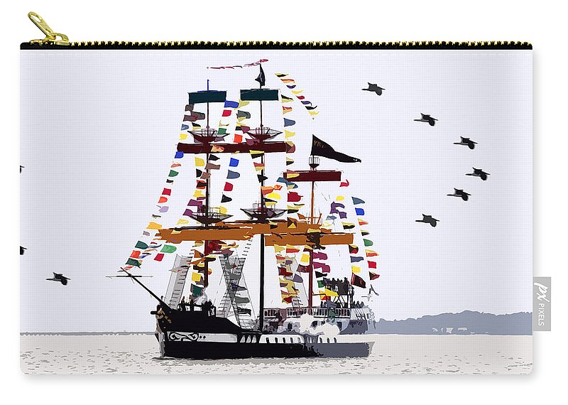 Gasparilla Carry-all Pouch featuring the painting The Great Ship Gasparilla by David Lee Thompson