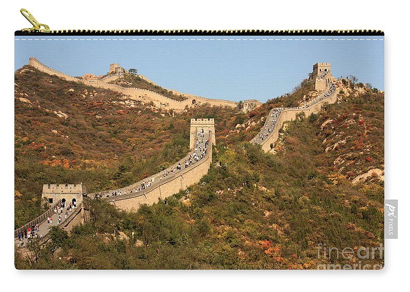 The Great Wall Of China Carry-all Pouch featuring the photograph The Great Wall On Beautiful Autumn Day by Carol Groenen