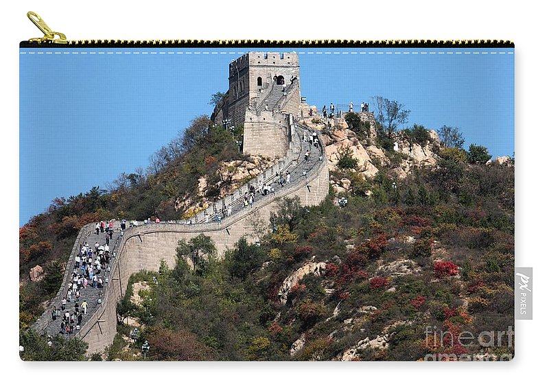 The Great Wall Of China Carry-all Pouch featuring the photograph The Great Wall Mountaintop by Carol Groenen