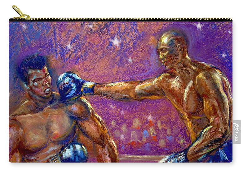 Boxing Carry-all Pouch featuring the pastel the Greatest Muhammed Ali vs Jack Johnson by Tommy Winn