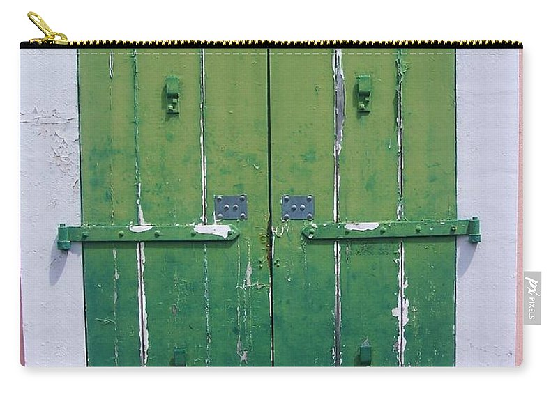 Architecture Carry-all Pouch featuring the photograph The Green Door by Debbi Granruth