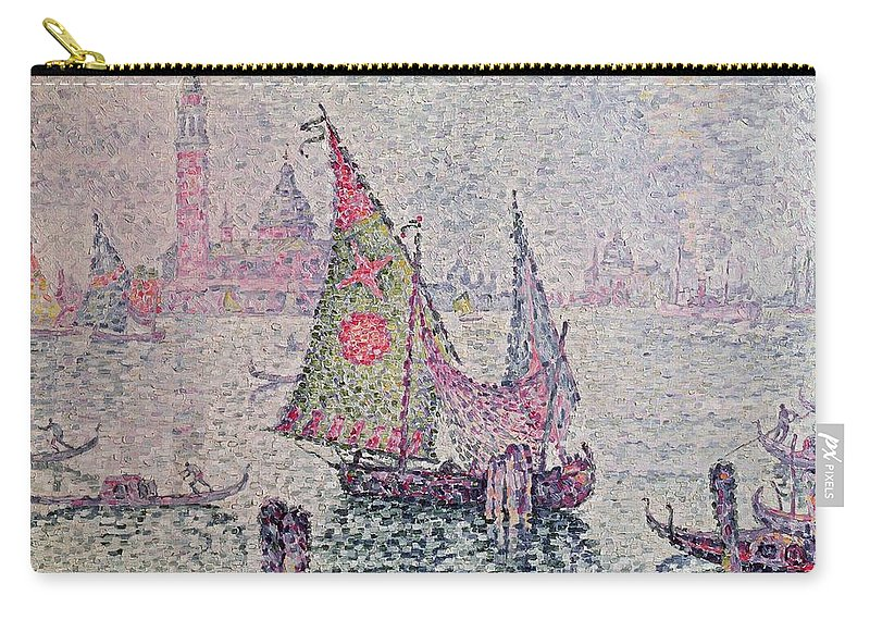 The Green Sail Carry-all Pouch featuring the painting The Green Sail by Paul Signac
