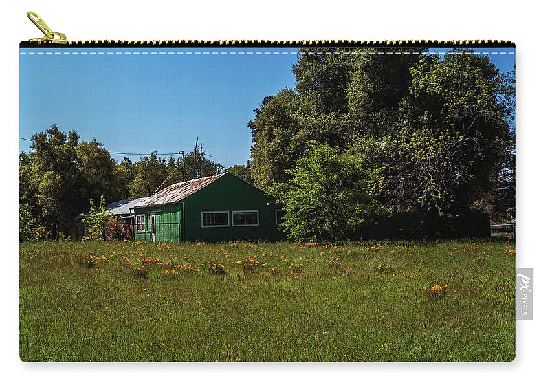 Shack Carry-all Pouch featuring the photograph The Green Shack by Mary Chris Hines