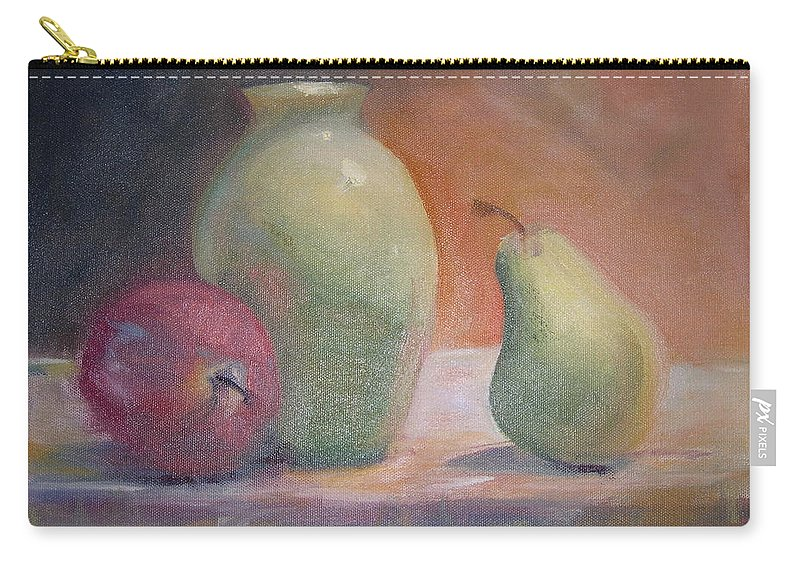 Green Carry-all Pouch featuring the painting The Green Vase by Patricia Caldwell