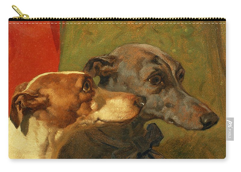 Greyhound; Dog; Ribbon; Bow; Dogs; Charlie; Pet; Racing; Levrier; Levriers Carry-all Pouch featuring the painting The Greyhounds Charley And Jimmy In An Interior by John Frederick Herring Snr