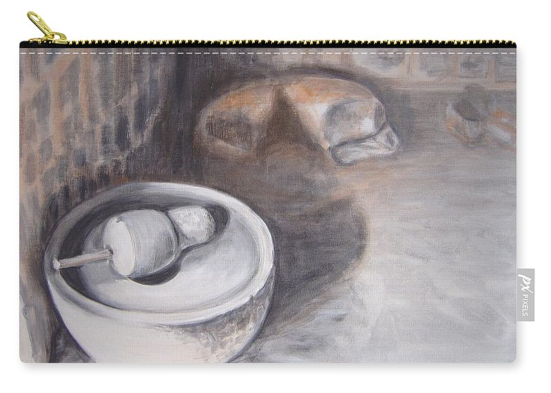 Grinding Carry-all Pouch featuring the painting The Grinding Stone by Usha Shantharam
