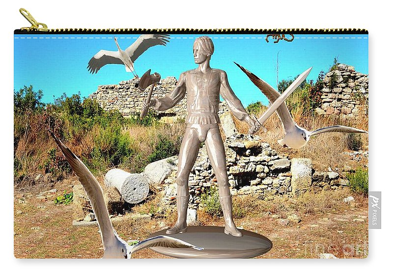 Modern Painting Carry-all Pouch featuring the mixed media The Guardian Of The Ruins 1 by Pemaro