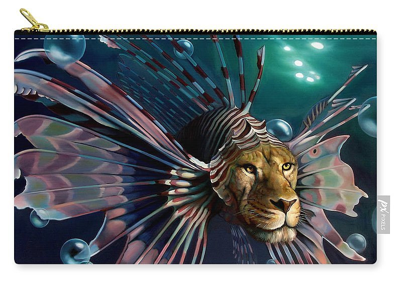 Lion Carry-all Pouch featuring the painting The Guardian by Patrick Anthony Pierson