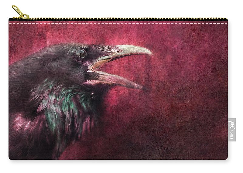 Raven Carry-all Pouch featuring the photograph The Guardian by Priska Wettstein