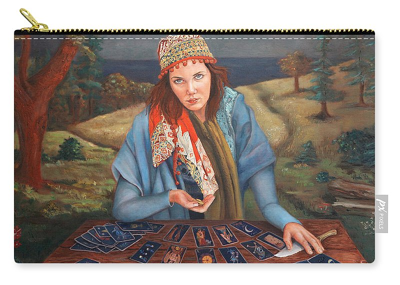 Figurative Art Carry-all Pouch featuring the painting The Gypsy Fortune Teller by Portraits By NC
