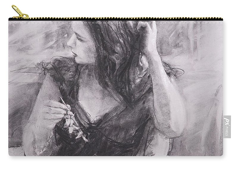 Woman Carry-all Pouch featuring the painting The Hairpin by Steve Henderson