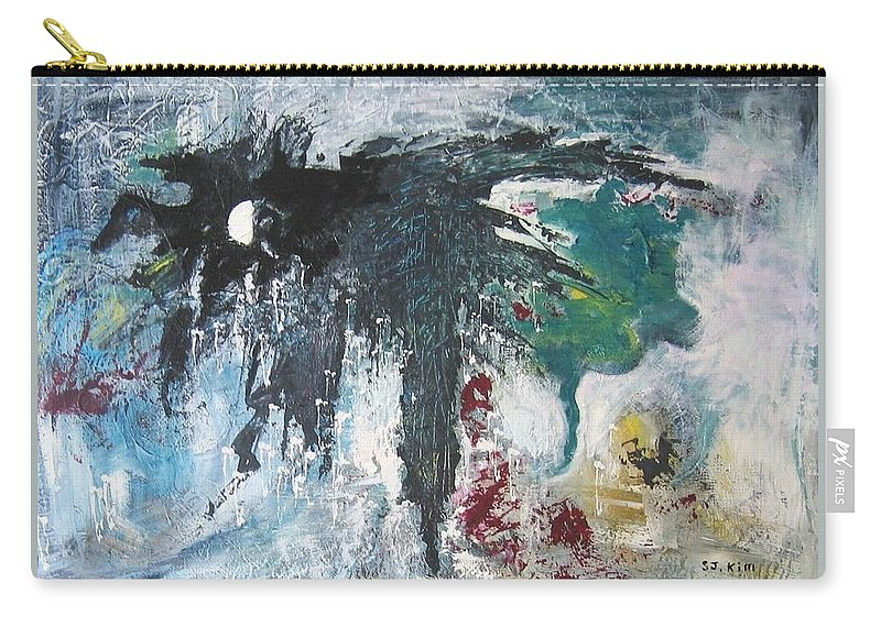 Abstract Paintings Carry-all Pouch featuring the painting The Half Moon by Seon-Jeong Kim