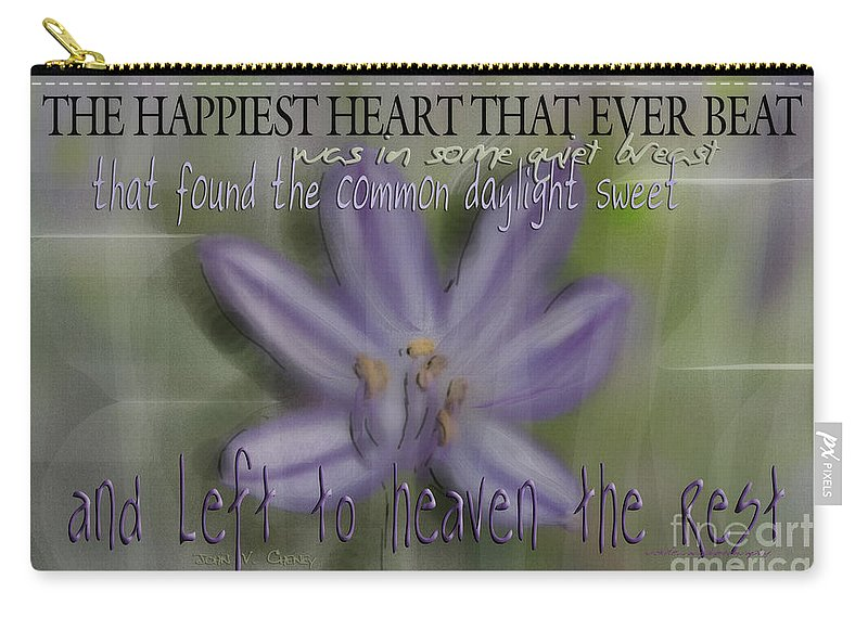 Purple Carry-all Pouch featuring the photograph The Happiest Heart That Ever Beat by Vicki Ferrari