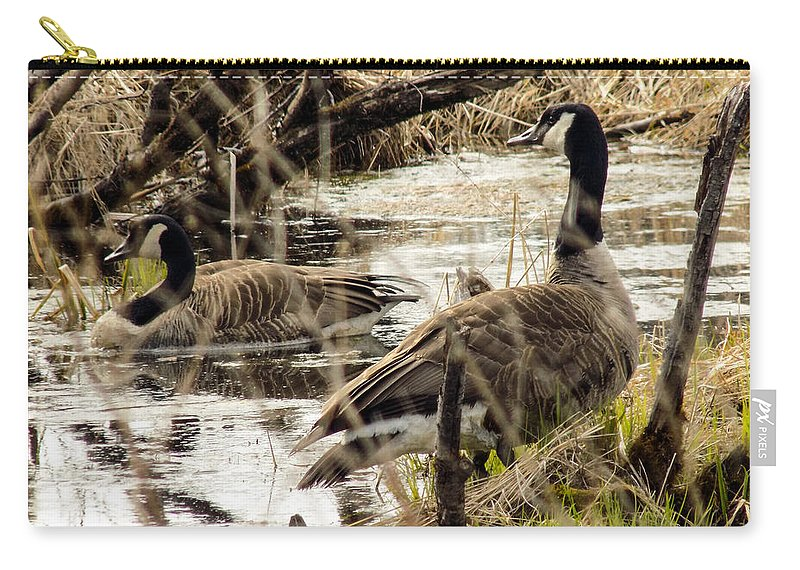 Goose Carry-all Pouch featuring the photograph The Happy Couple by William Tasker