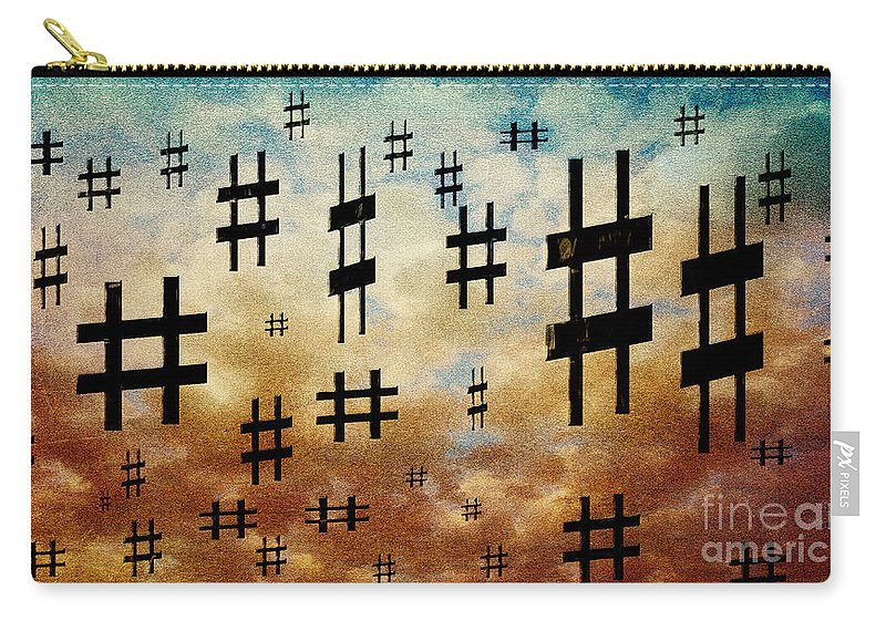 Abstract Carry-all Pouch featuring the digital art The Hashtag Storm by Andee Design