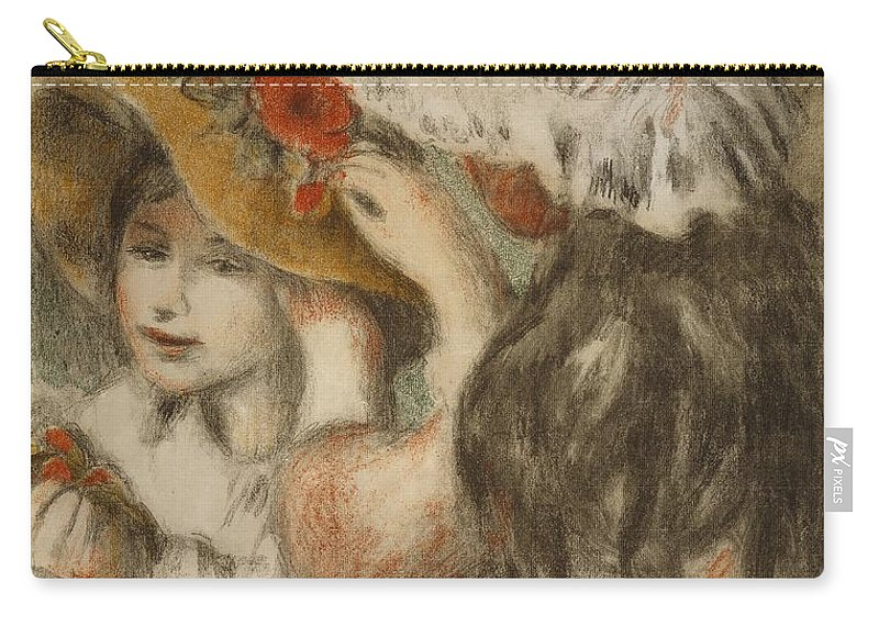 Impressionist; Impressionism; Portrait; Double; Young Girl; Hat; Pinning; Girls Carry-all Pouch featuring the painting The Hatpin by Pierre Auguste Renoir
