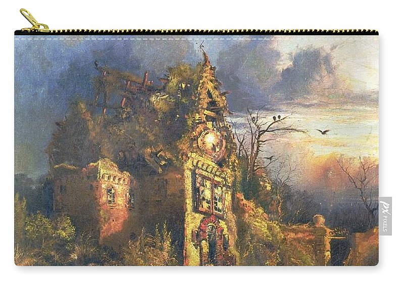 The Haunted House Carry-all Pouch featuring the painting The Haunted House by Thomas Moran