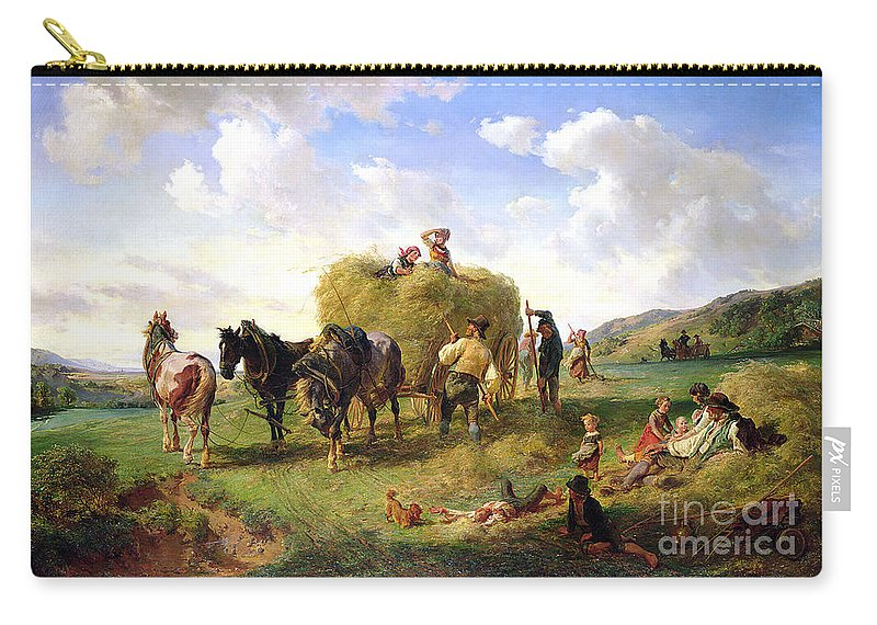 The Carry-all Pouch featuring the painting The Hay Harvest by Hermann Kauffmann