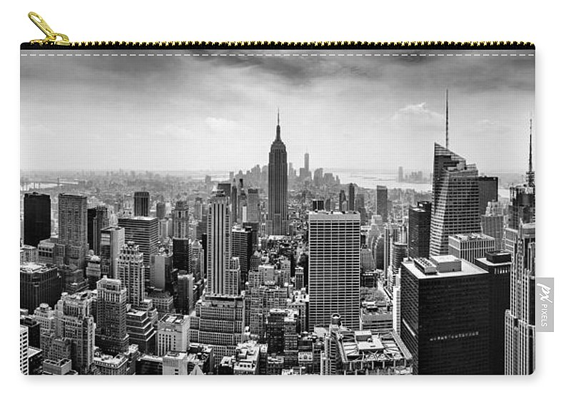 Panorama Photo Carry-all Pouch featuring the photograph New York City Skyline BW by Az Jackson