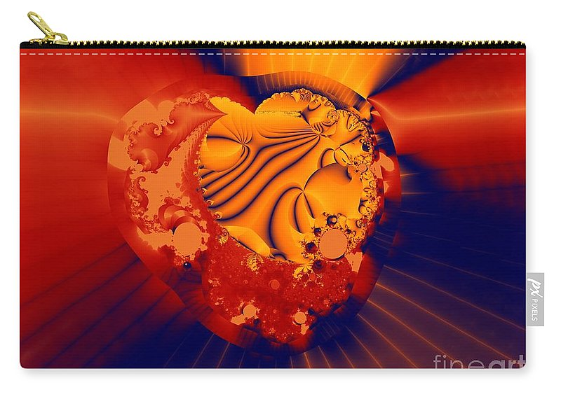 Fractal Art Carry-all Pouch featuring the digital art The Heart of the Matter by Ron Bissett