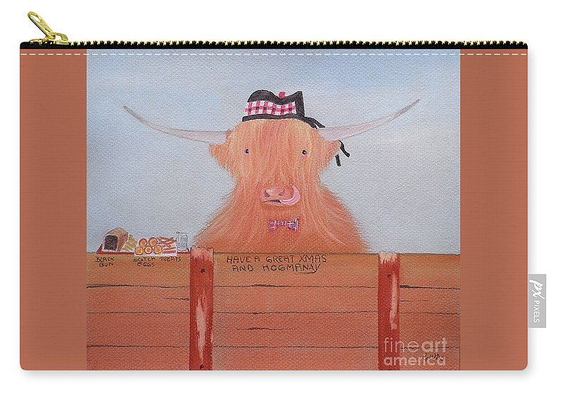 The Highland Cow Carry-all Pouch featuring the pastel The Heiland Coo At Christmas by Gordon Ogilvie