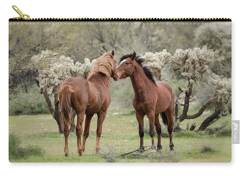 Wild Horses Carry-all Pouch featuring the photograph The Hello by Saija Lehtonen