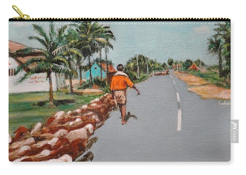 Carry-all Pouch featuring the painting The Herd 1 by Usha Shantharam