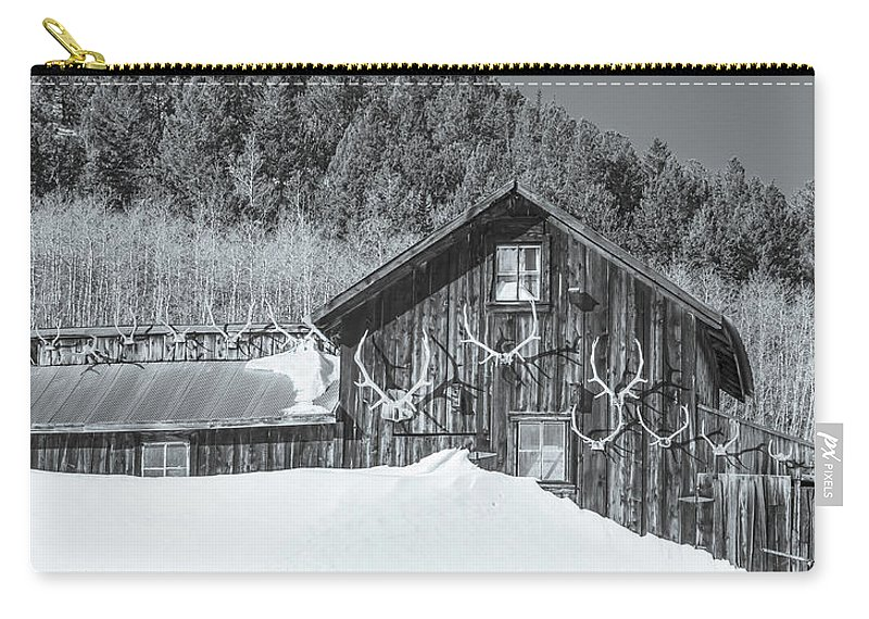 Historic Barns Carry-all Pouch featuring the photograph A Hibernal Accumulation, Selenium Tone by Bijan Pirnia