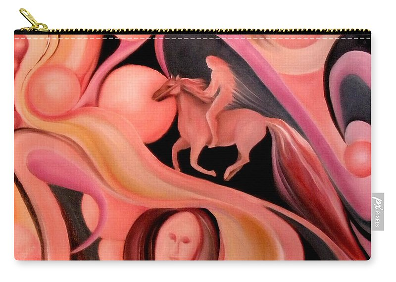 Horse On Surreal Highway Carry-all Pouch featuring the painting The Highway by Jordana Sands