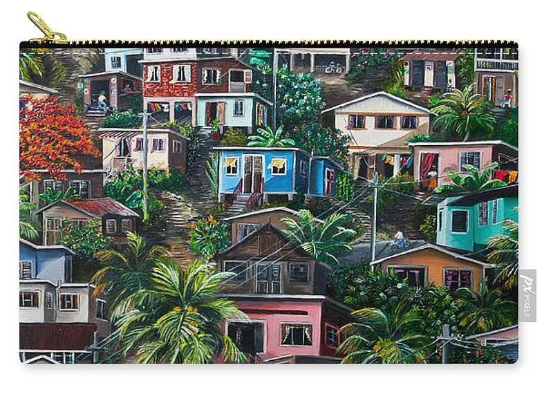 Landscape Painting Cityscape Painting Houses Painting Hill Painting Lavantille Port Of Spain Painting Trinidad And Tobago Painting Caribbean Painting Tropical Painting Caribbean Painting Original Painting Greeting Card Painting Carry-all Pouch featuring the painting The Hill   Trinidad by Karin Dawn Kelshall- Best