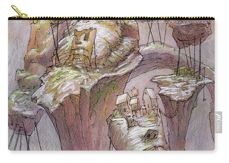 Town Carry-all Pouch featuring the mixed media The Hillrot Group by Ethan Harris