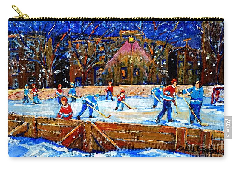 Snow Carry-all Pouch featuring the painting The Hockey Rink by Carole Spandau
