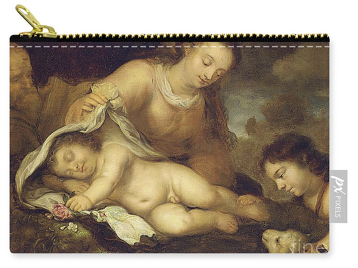 Virgin And Child Carry-all Pouch featuring the painting The Holy Family With Infant Saint John The Baptist by Jurgen Ovens