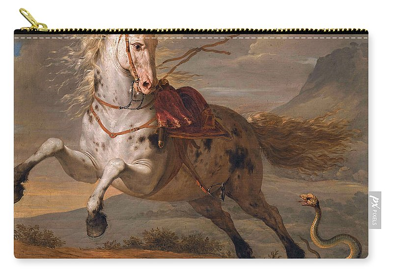 Benigne Gagneraux Carry-all Pouch featuring the painting The Horse And The Snake by Benigne Gagneraux