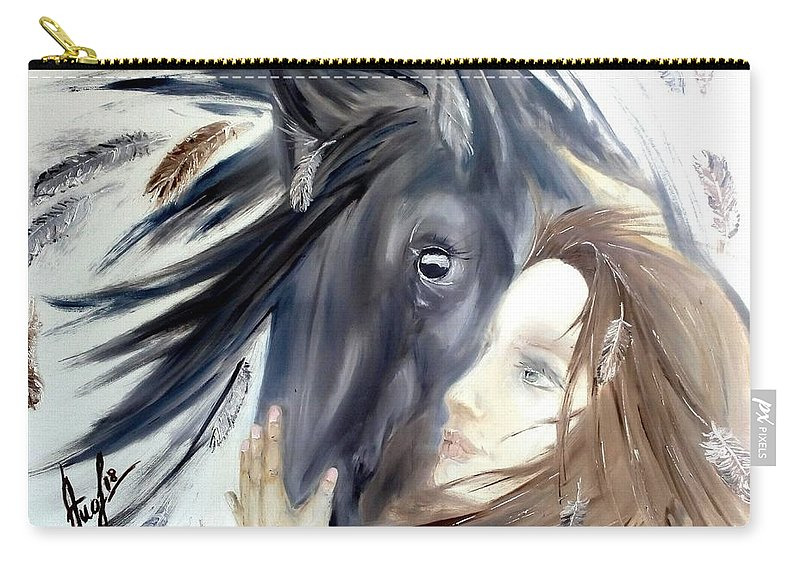 Horse Carry-all Pouch featuring the painting The Horse by Elena Ivanina
