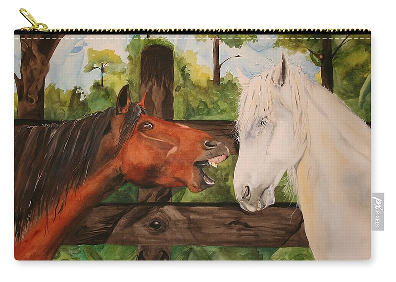 Horse Carry-all Pouch featuring the painting The Horse Whisperers by Jean Blackmer