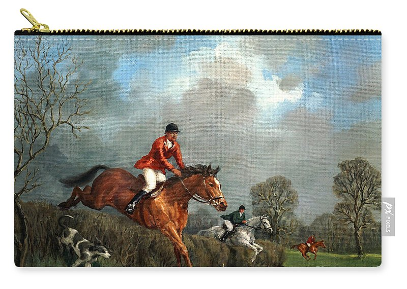 Fox Hunting Carry-all Pouch featuring the painting The Hunt by Richard Willis