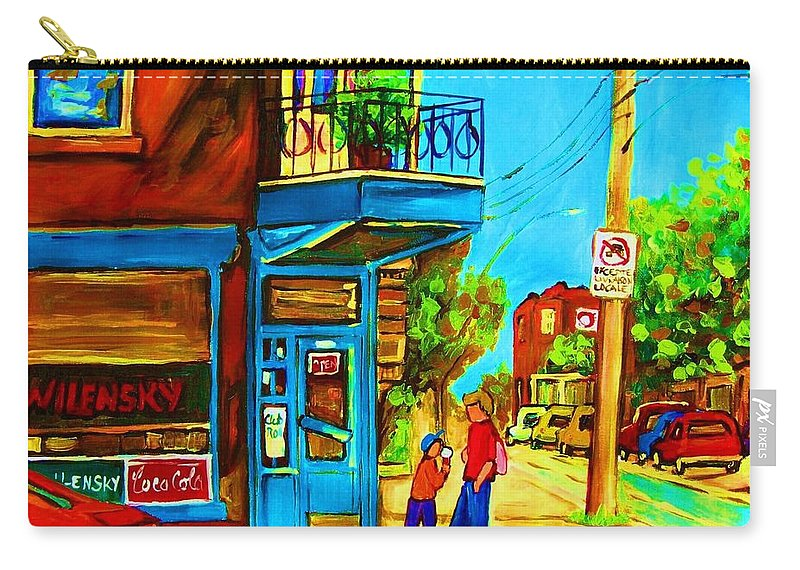 Wilenskys Deli Carry-all Pouch featuring the painting The Icecream Cone by Carole Spandau