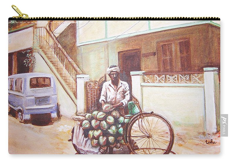 Usha Carry-all Pouch featuring the painting The Indian Tendor-coconut Vendor by Usha Shantharam