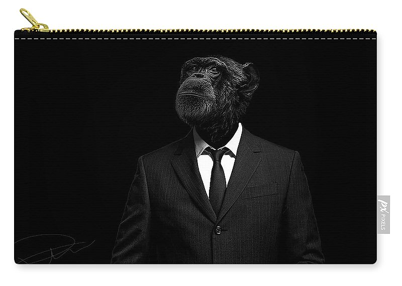 Chimpanzee Carry-all Pouch featuring the photograph The interview by Paul Neville